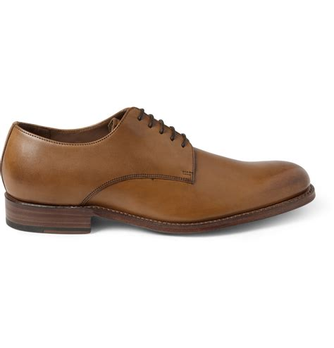 grenson toby leather derby shoes in brown for lyst