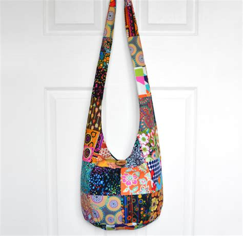 Kenaya Sling Bag Black Berry By Huer crossbody hippie bag pattern leather travel bags