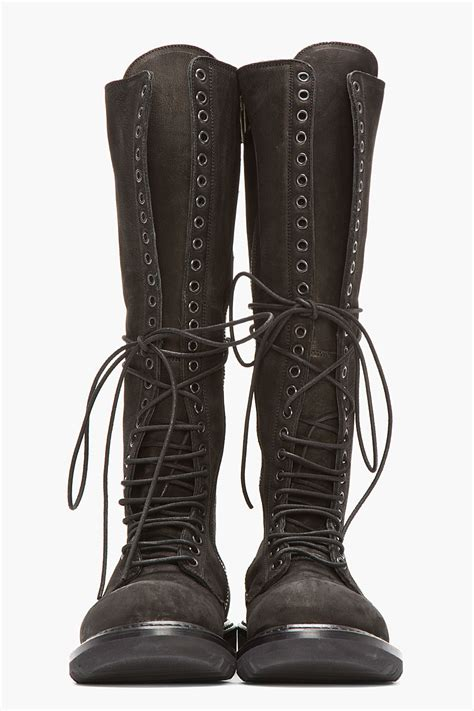 mens knee high lace up boots rick owens black nubuck and leather knee high lace up