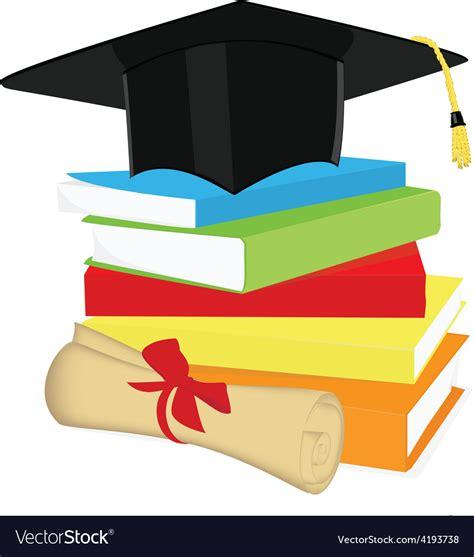 diploma clipart book stack graduation cap and diploma royalty free vector