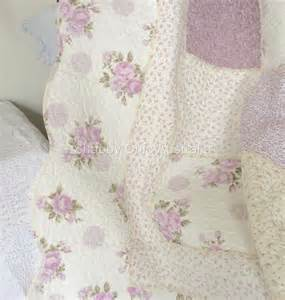 queen bed country lavender shabby rag roses chic