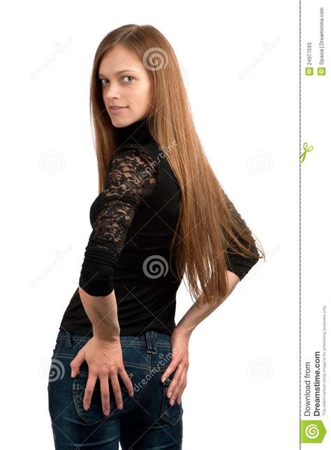 teen girls long hair beautiful woman with long straight hair stock image