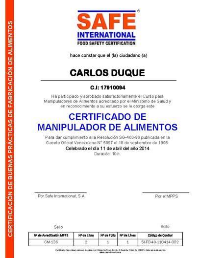 titulo manipulador de alimentos gratis curso carnet y certificado de manipulador de alimentos 8