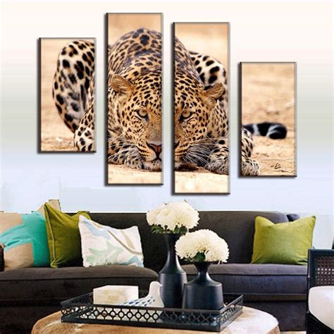 home decoration pieces excellent huge size modern 4 pieces animal oil painting