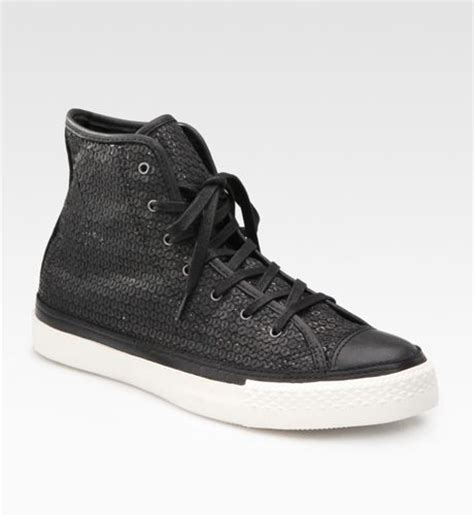 black sequin converse sneakers converse leather sequin high top sneakers in black lyst