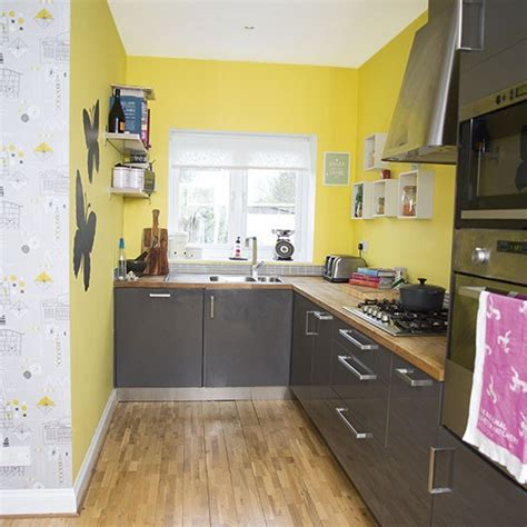 Yellow Walls And Gray Floor Yellow And Grey Kitchen Kitchen Decorating Style At