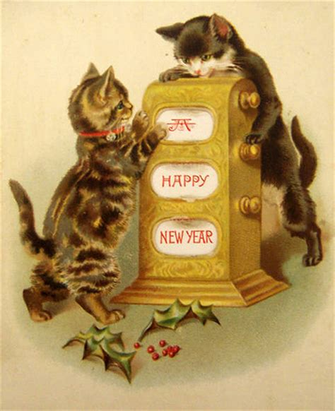 vintage new year songs new years kittens with a slot machine the doodle