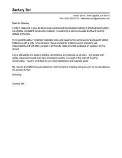 Construction Labor Cover Letter Examples | Construction