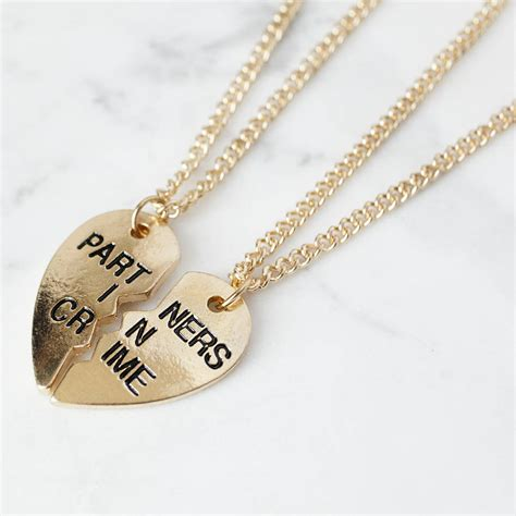 partners in crime friendship necklaces by junk jewels