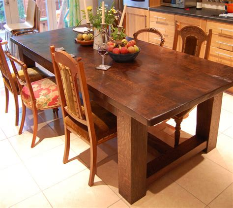 bespoke handmade oak refectory kitchen table quercus