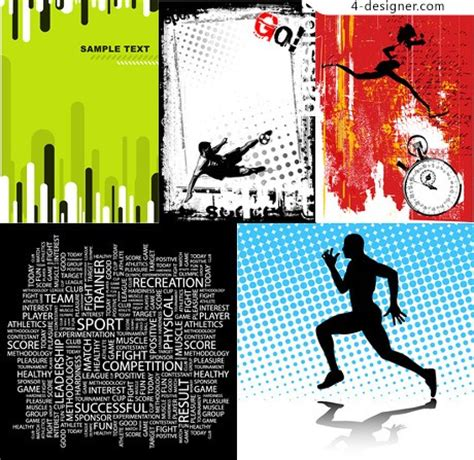 design poster sport 4 designer sports poster design element vector material