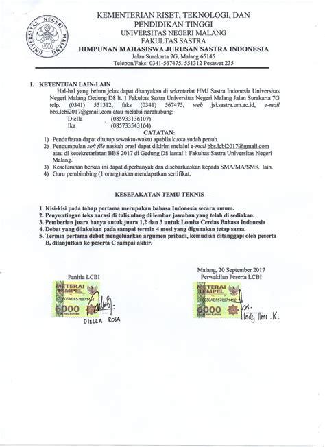 format skripsi um hasil kesepakatan temu teknis lomba cerdas bahasa