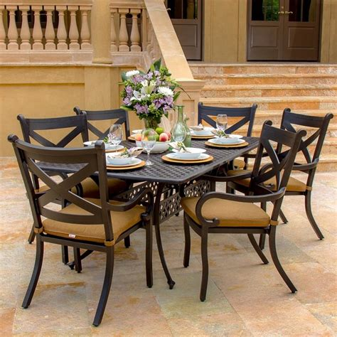 Avondale 6 Person Cast Aluminum Patio Dining Set Modern Modern Patio Dining Set