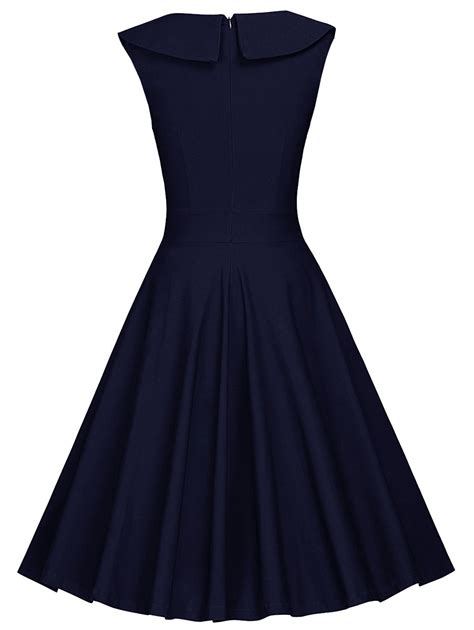 Sleeveless Pleated A Line Dress 2018 colorblock sleeveless pleated a line dress blue white