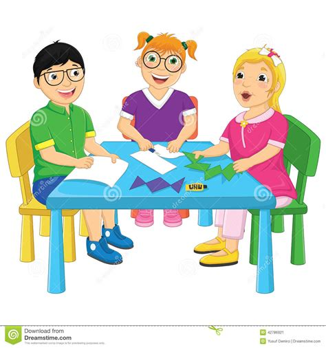 clipart bimbi working on table vector illustration stock vector