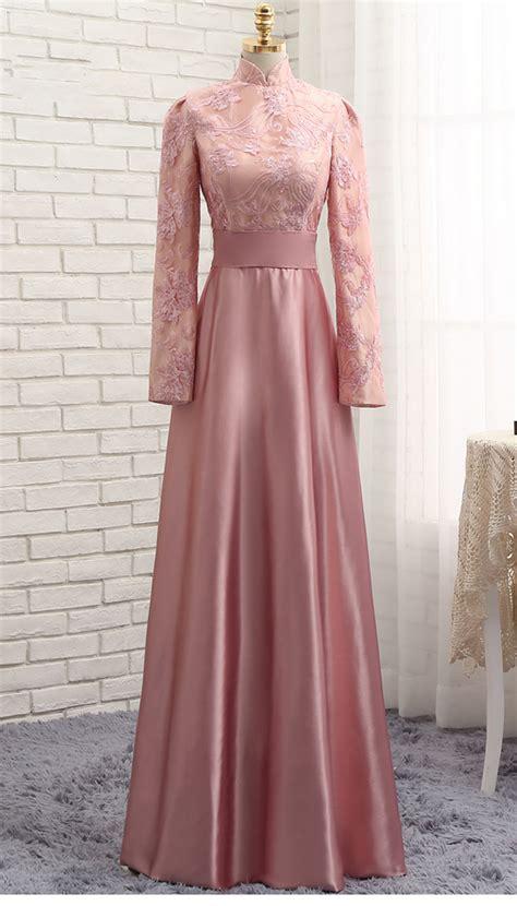 custom  pink   modest dress  high neck long