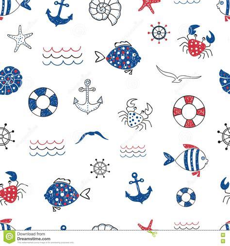 nautical theme birthday cute marine life doodle seamless pattern vector sea