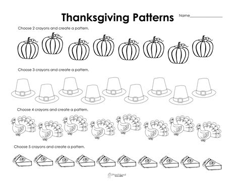 pattern songs for kindergarten making patterns thanksgiving style free worksheet