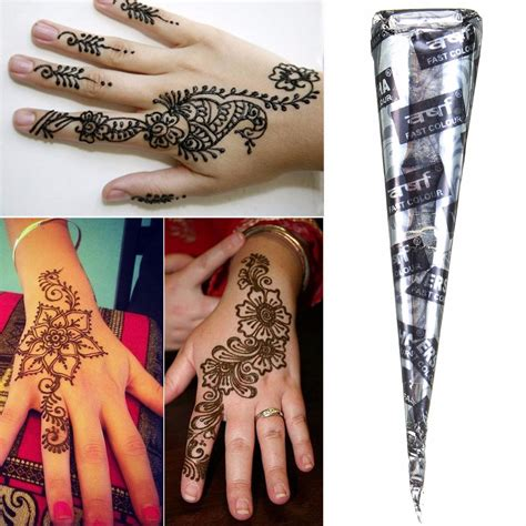 henna tattoo art kits 1pcs black herbal henna cones temporary tattoos