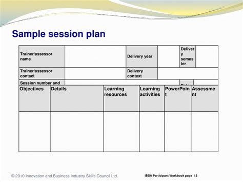 exercise session plan template taedel301a topic2