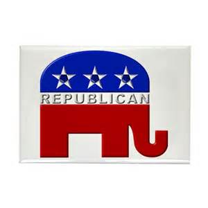 Republican elephant logo rectangle magnet by jestdesigns