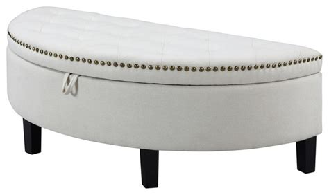 half moon ottoman iconic home jacqueline linen tufted gold nail trim half