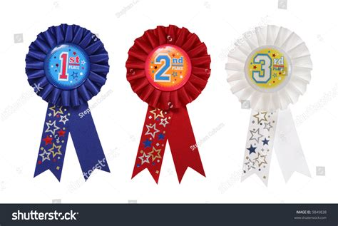 1st prize ribbon template second third place award ribbons stock photo 9849838