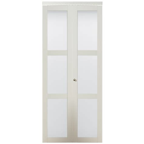 Glass Closet Doors Shop Kingstar White 3 Lite Solid Tempered Frosted Glass Bifold Closet Door Common 36 In X