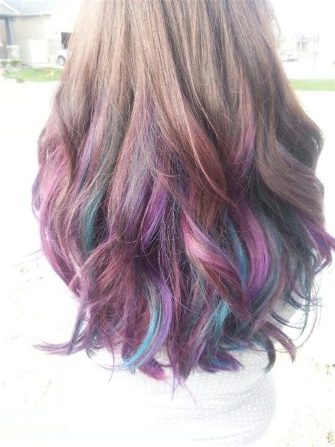 highlights underneath hair brown hair with purple highlights hair