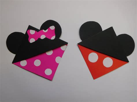 Mickey Mouse Origami - items similar to mickey minnie mouse corner bookmarks on