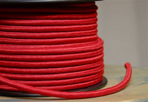 6 Feet Red Cloth Covered 3 Wire Round Cord Vintage Style