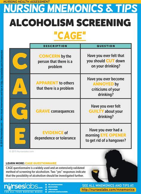printable cage questionnaire nursing health assessment mnemonics tips nurseslabs