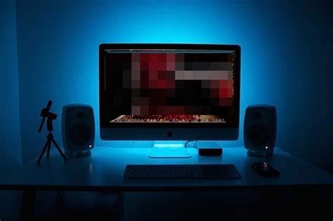 computer desk light mac setups vloggers minimalist imac desk with multicolor