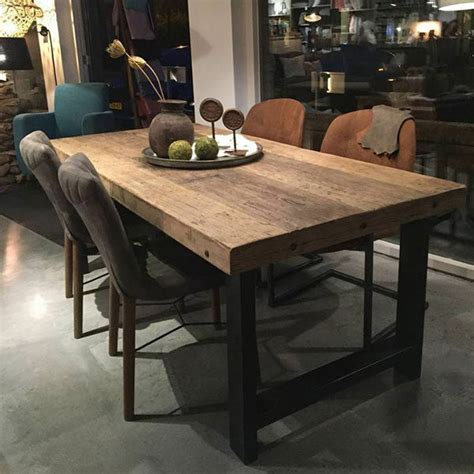 vierkante eettafel oud hout eettafel gerecycled hout met metalen onderstel 200x95cm