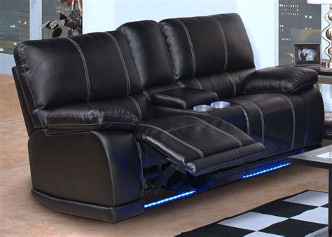 Dual Reclining Sofa With Console Electra Mesa Black Dual Reclining Loveseat With Console From New Classics 20 382 25 Mbk