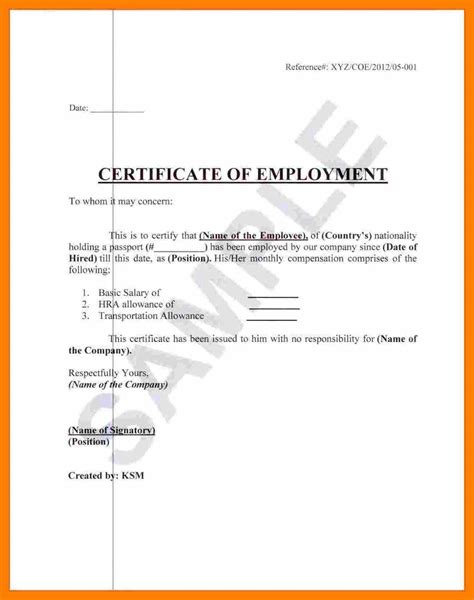 certificate of employment format certificate of employment