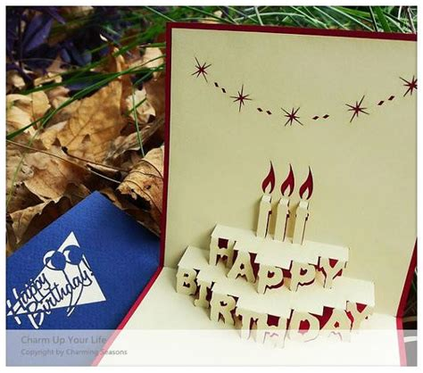 Origami 3d Card - origami handcrafted 3d greeting card birthday with candles