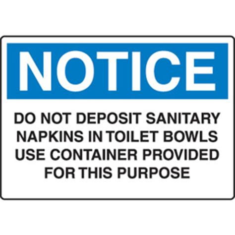 Sign Label Do Not Deposite Sanitaty Napkins Paper Towel In Toilet notice housekeeping sign do not deposit sanitary napkins