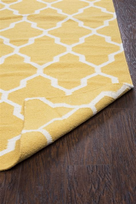 Quatrefoil Area Rug 8x10 Swing Quatrefoil Trellis Wool Area Rug In Yellow Gold White 8 X 10
