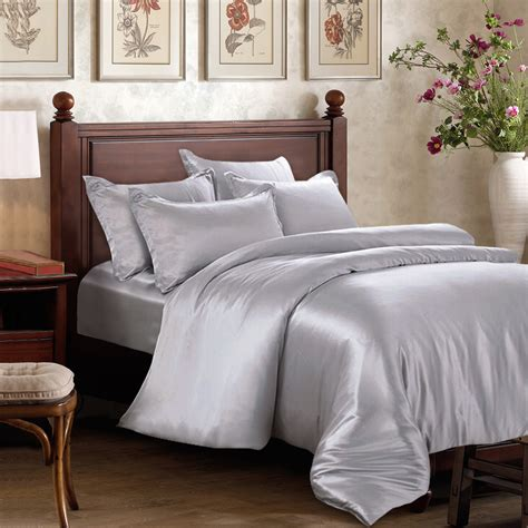 silk bed sets silver silk sheet set