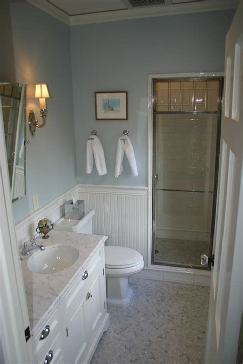 bathroom beadboard white and blue bathroom transitional bathroom