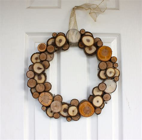woodland christmas natural wood slice wreath dining and