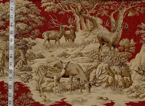 deer upholstery fabric deer fabric red toile woods nature woodland lodge rustic