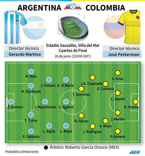 alineaciones colombia vs eliminatorias colombia argentina venci 243 5 4 en penales a colombia y clasific 243 a las semifinales de la copa am 233 rica 2015