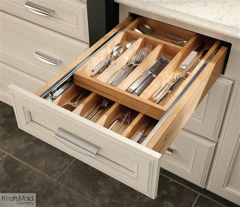kitchen cabinet drawer organizers kraftmaid wood tiered drawer storage transitional