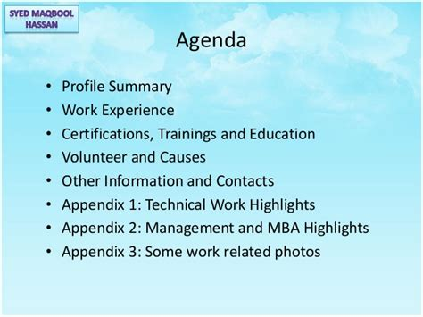Pre Mba Work Experience by Syed Maqbool Hassan Personal Career Profile