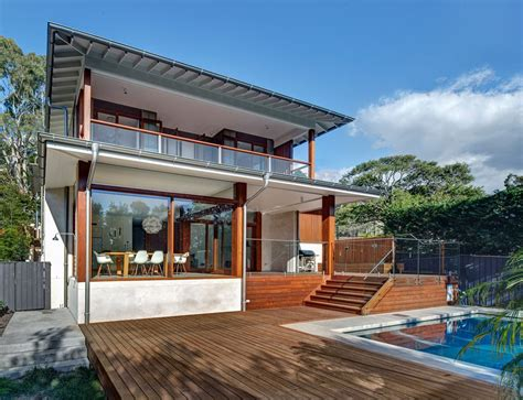 House Design Australia Australian Home With Spotted Gum Wood Details And Pool