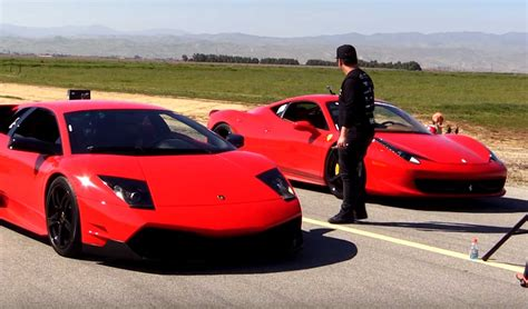 Car Race Vs Lamborghini Lamborghini Murcielago Vs 458 Italia Drag Race