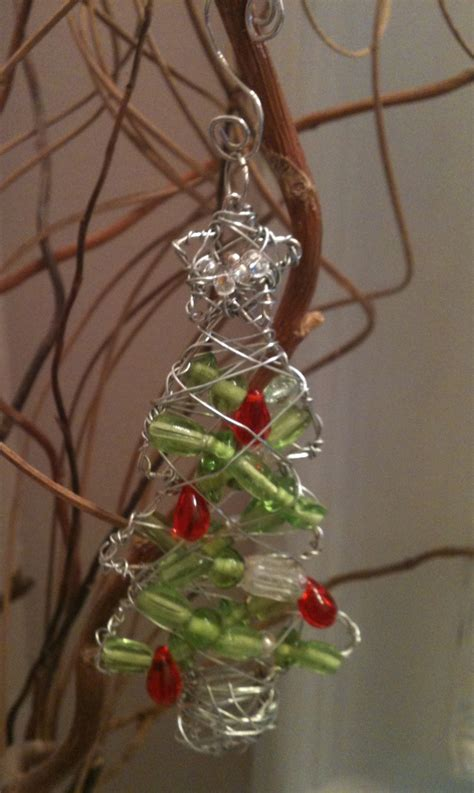 wire bead christmas tree ornament ornaments pinterest