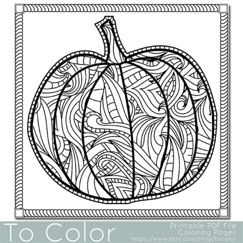 pumpkin coloring pages for adults items similar to patterned pumpkin coloring page for